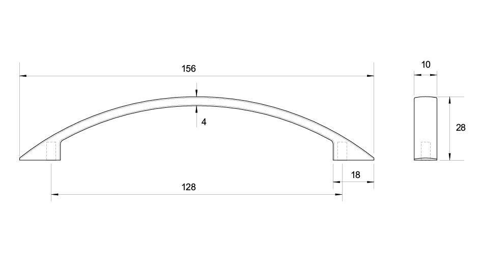 Flat Bow Handle 128mm Kethy D1517128