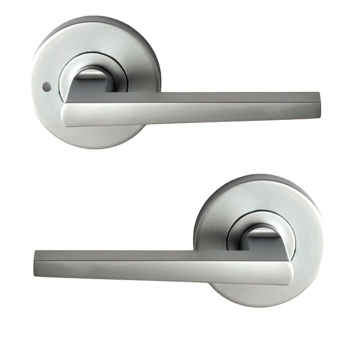 Nidus Door Handle Mediterranean Marino Privacy Lever Set Satin Chrome