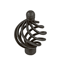 Delf 2474LBK Cupboard Knob 38mm French Round Open Weave Black Iron