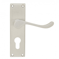 Pavtom 7304SC Door Handle Scroll Lever Euro Lock Plate Satin Chrome 150x42mm