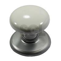 Nidus CCKWHSC Door Knob Corona Cupboard Set White Satin Chrome w/ Backplate