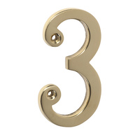 Tradco 1393PB Numeral 3 Polished Brass 75mm