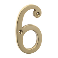 Tradco 1396PB Numeral 6 Polished Brass 75mm