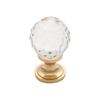 Tradco 3027PB Cupboard Knob Cut Glass Polished Brass 32mm