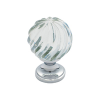 Tradco 3030CP Cupboard Knob Glass Fluted Swirl Polished Chrome 38mm