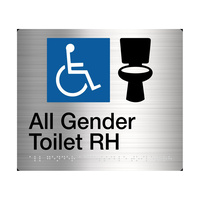 All Gender Toilet (Right handed) Braille Sign Stainless Steel AGT/RH-SS