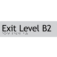 AS1428 Compliant Exit Sign B2 SILVER Basement 2 Braille 180x50x3mm