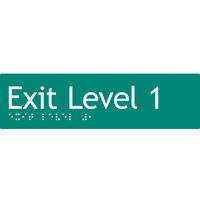 AS1428 Compliant Exit Sign L1 GREEN Level 1 Braille 180x50x3mm