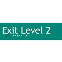 AS1428 Compliant Exit Sign L2 GREEN Level 2 Braille 180x50x3mm