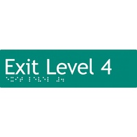 AS1428 Compliant Exit Sign L4 GREEN Level 4 Braille 180x50x3mm