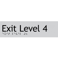 AS1428 Compliant Exit Sign L4 SILVER Level 4 Braille 180x50x3mm