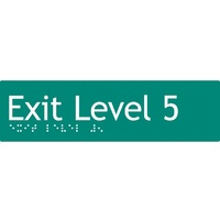 AS1428 Compliant Exit Sign L5 GREEN Level 5 Braille 180x50x3mm