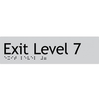 AS1428 Compliant Exit Sign L7 SILVER Level 7 Braille 180x50x3mm