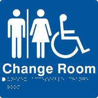 AS1428 Compliant Change Room Sign Unisex Disabled Braille BLUE MFDCR 210x180mm