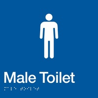 AS1428 Compliant Toilet Sign Male Braille BLUE MT 180x180x3mm