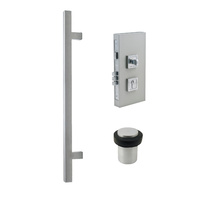 Zanda 1231SS Square Pull Handle and Lock Kit Combo Stainless Steel 600mm